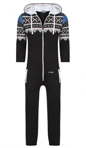 Men's Unisex Aztec Black Brushed Fleece Zip Up Playsuit Jumpsuit All In One Hooded Onesie